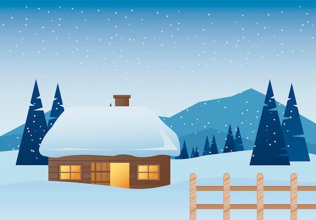 Mooi huis en hek winterlandschap scène illustratie