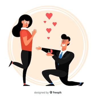 Mooi huwelijksaanzoek met cartoonstijl