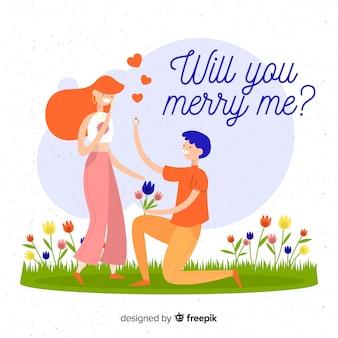 Mooi huwelijksaanzoek met een plat ontwerp