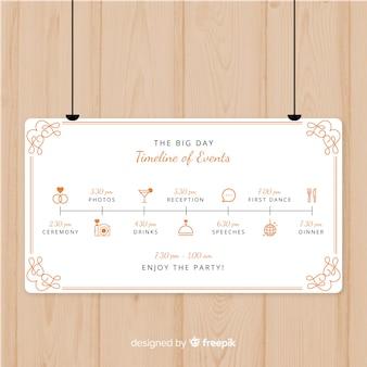 Mooi huwelijksprogramma met plat ontwerp