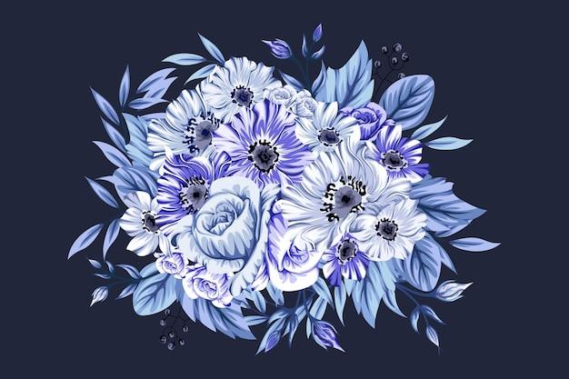 Mooi ijzig blauw boeket bloemen