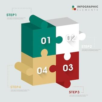 Mooi infographic ontwerp met 3d-puzzelelementen