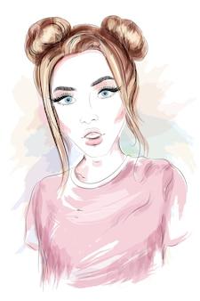 Mooi jong meisje met stijlvol kapsel