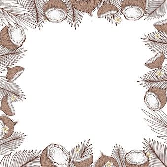 Mooi kader met kokosnoot. kokosnoot en palmbladeren in graveerstijl. leeg kader