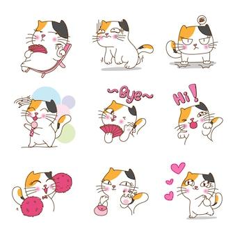 Mooi kattenkarakterontwerp in verschillende emoties en uitdrukkingen