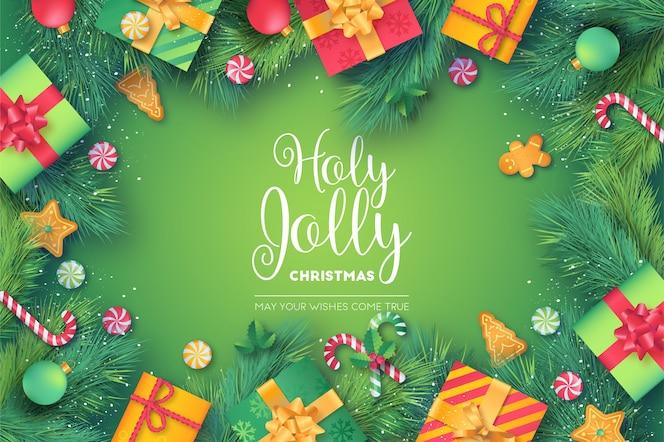 Mooi kerstmiskader met groene en rode presenteert