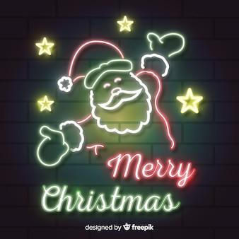 Mooi kerstteken met neonlichtstijl