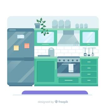 Mooi keukenbinnenland met vlak ontwerp