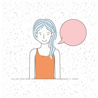 Mooi klein meisje praten met tekstballon