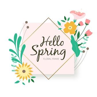 Mooi kleurrijk bloemenframe met hallo lente het van letters voorzien