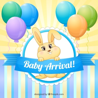 Mooi konijntje met ballonnen kaart van de babydouche