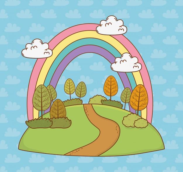 Mooi landschap met regenboog