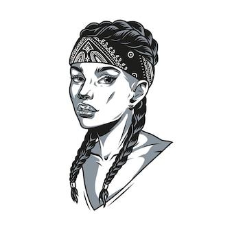 Mooi latino meisje met staartjes en bandana op haar hoofd in vintage zwart-wit stijl geïsoleerde vectorillustratie