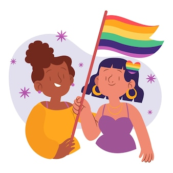 Mooi lesbisch koppel met lgbt-vlag geïllustreerd