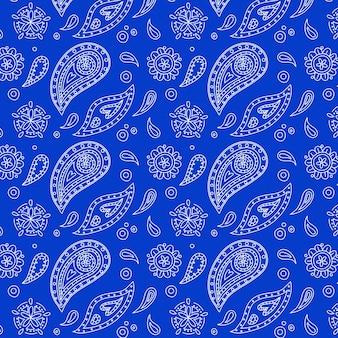 Mooi levendig blauw paisley bandana naadloos patroon