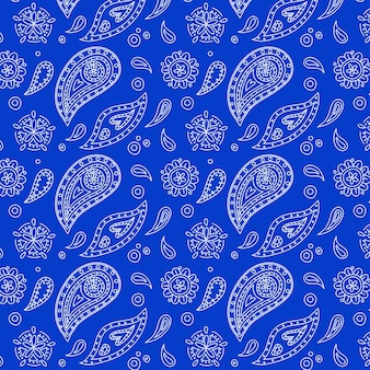 Mooi levendig blauw paisley bandana naadloos patroon Premium Vector