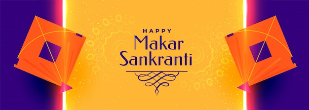 Mooi makar sankranti festival banner ontwerpontwerp