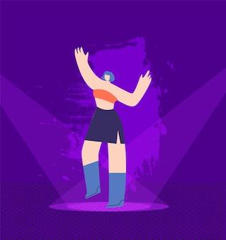 Mooi meisje dansen op verlichte nachtelijke etappe