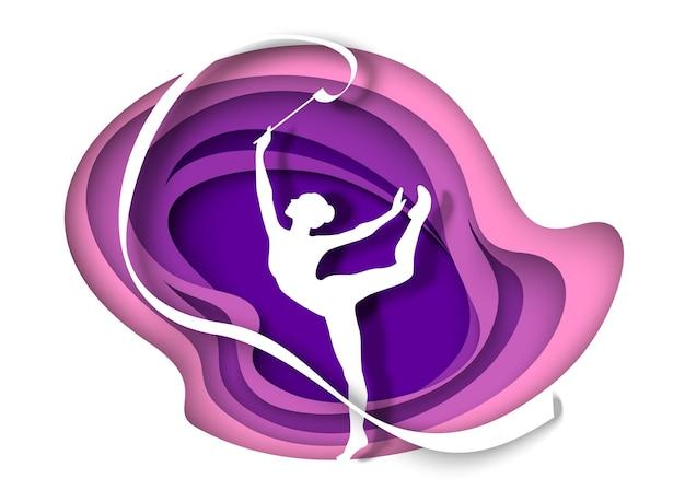 Mooi meisje gymnast silhouet dansen met lint vectorillustratie in papier kunststijl ritme...
