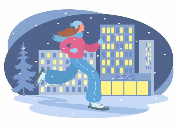 Mooi meisje houdt zich bezig met sporten in het winterseizoen illustratie van een meisje dat jogt in de even