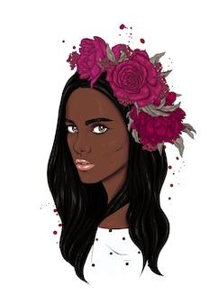 Mooi meisje in een bloemkroon