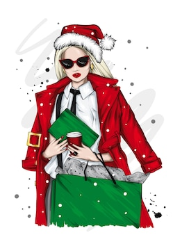 Mooi meisje in een kerstmuts. kerstmis.
