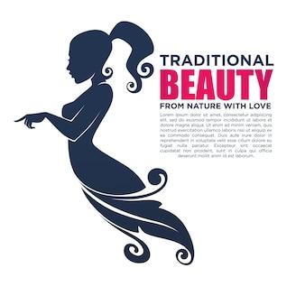 Mooi meisje in gebloemde jurk, voor uw logo, etiket, embleem