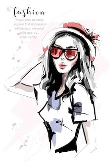 Mooi meisje in hoed.