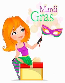 Mooi meisje in mardi gras-kostuum