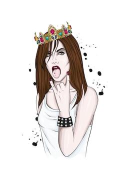 Mooi meisje in stijlvolle kleding en kroon
