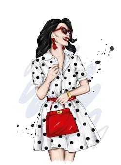 Mooi meisje in stijlvolle kleding mode en stijl
