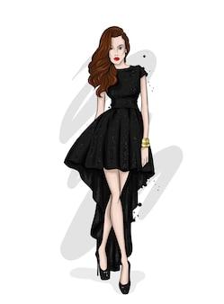 Mooi meisje in stijlvolle kleding
