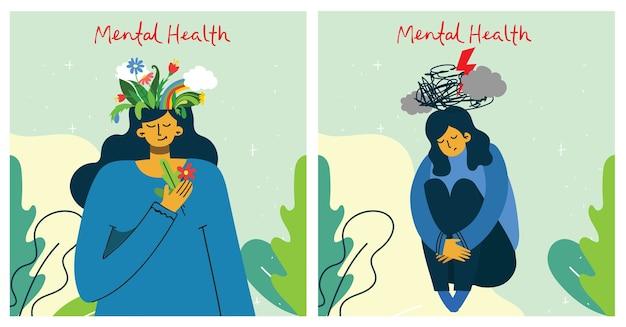 Mooi meisje met bloemen en storm in het hoofd. geestelijke gezondheid illustratie concept.