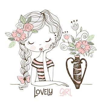 Mooi meisje met bloemen in een vaas. doodle stijl.