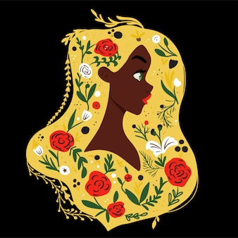 Mooi meisje met bloemen in het haar. eco concept vectorllustration