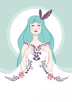 Mooi meisje, met bloemen op haar jurk