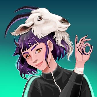 Mooi meisje met een geit op haar hoofd
