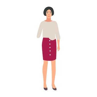 Mooi meisje met geamputeerde arm geïsoleerd op een witte achtergrond. glimlachende geamputeerde of gehandicapte persoon. gelukkig vrouwelijk personage met lichamelijke beperking. kleurrijke vectorillustratie in platte cartoon stijl.