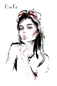 Mooi meisje met haarboog