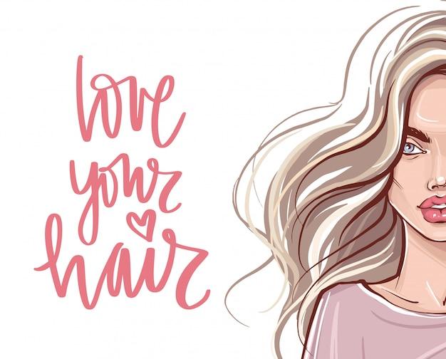 Mooi meisje met lang haar en handgeschreven letters citaat