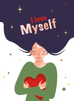 Mooi meisje met lang haar en met vitiligo knuffels hart inscriptie ik hou van mezelf vector illustra...