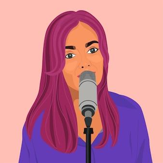 Mooi meisje met roze haar zegt iets of zingt in de microfoon.