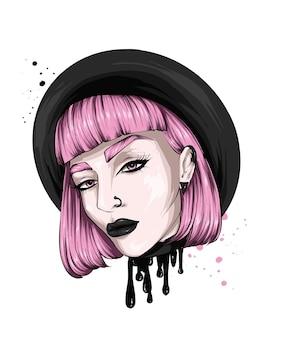 Mooi meisje met stijlvol kapsel en make-up
