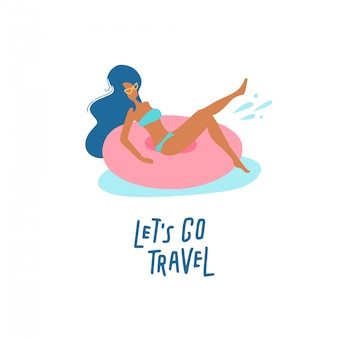 Mooi meisje op zwemmende ring. vrouwen ontspannen in een zwembad of zee met rusten op opblaasbare roze donutmatras. laten we gaan reizen belettering tekst.