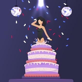 Mooi meisje sprong uit cake feestelijke cartoon