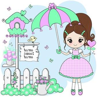 Mooi meisje verspreid paraplu