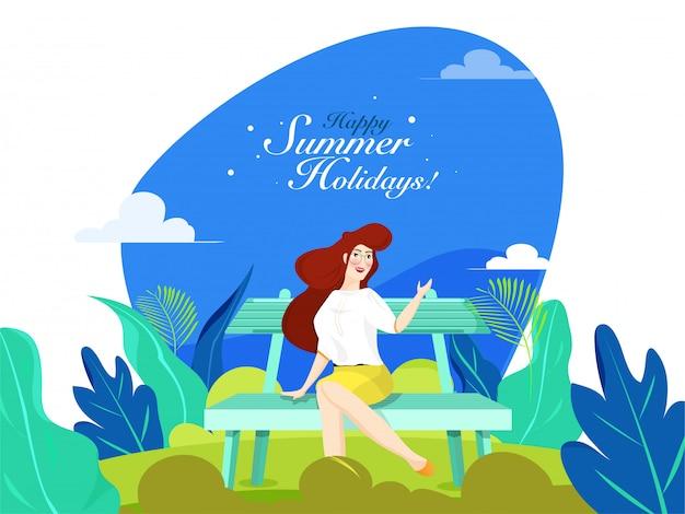 Mooi meisje, zittend op een bankje voor happy zomervakantie