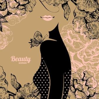 Mooi meisjessilhouet. vintage retro achtergrond met handgetekende roze bloemen