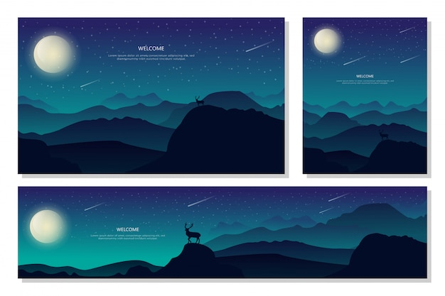 Mooi mooi landschap night mountain. abstracte achtergrond met kleurovergang, platte ontwerp