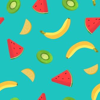 Mooi naadloos patroon met bananen en stukjes sinaasappel, kiwi, watermeloen op blauwe achtergrond. achtergrond met sappige tropische vruchten. gekleurde illustratie voor inpakpapier, stoffendruk.